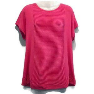 💜 Chicos Short Sleeve Pink Stretchy Ribbed Top